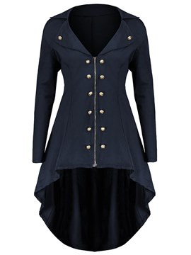 Ericdress Lapel Asymmetric Zipper Button Coats