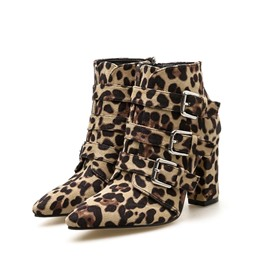 Ericdress Leopard Print Pointed Toe Chunky Heel Women's Ankle Boots
