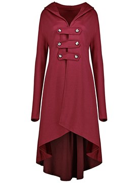 Ericdress Long Plain Casual Button Trench Coats