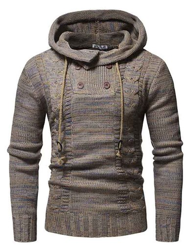 Ericdress Plain Hooded Lace Up Button Casual Pullover Men's Sweater