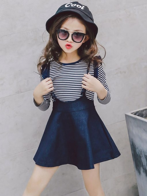 Ericdress Striped T Shirts & Skirt Girl's Casual Outfits