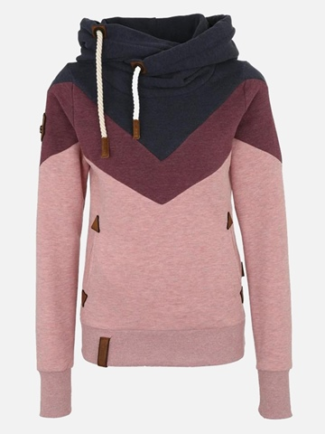 Ericdress Color Block Patchwork Pullover Slim Cool Hoodie