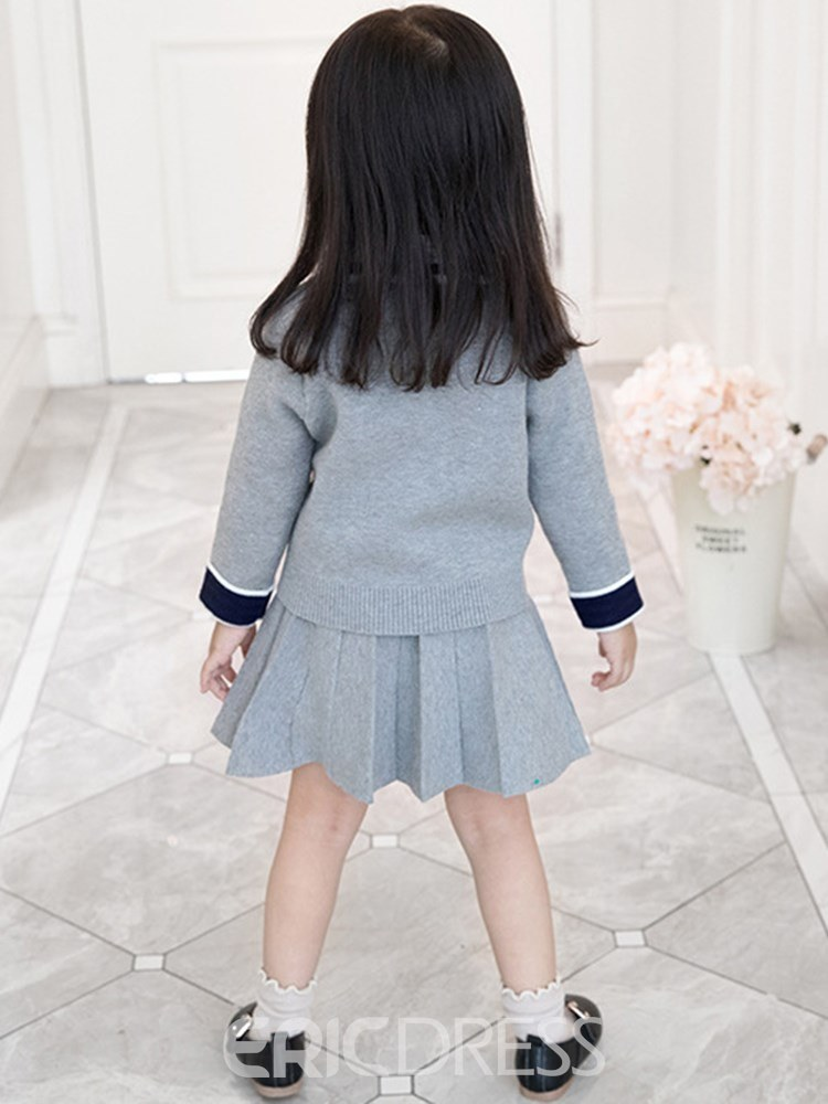 Ericdress Patchwork Coat Plain Skirt Girl's 2 Pcs Casual Outfits
