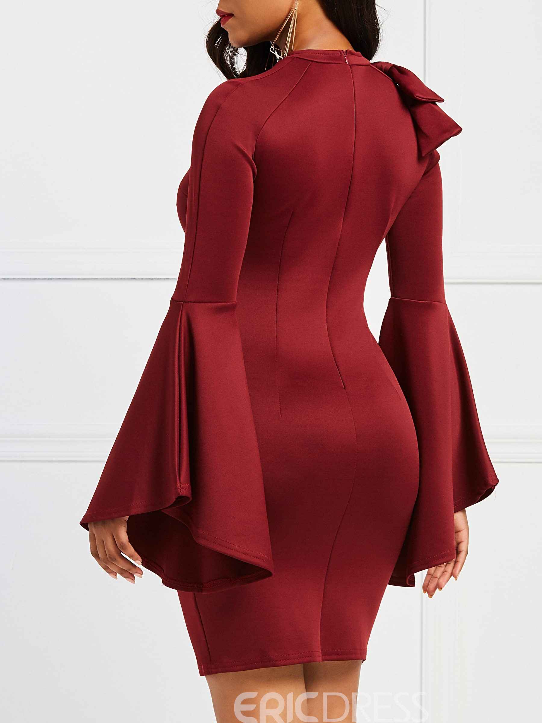 Ericdress Red Stand Collar Bowknot Patchwork Sheath Dress