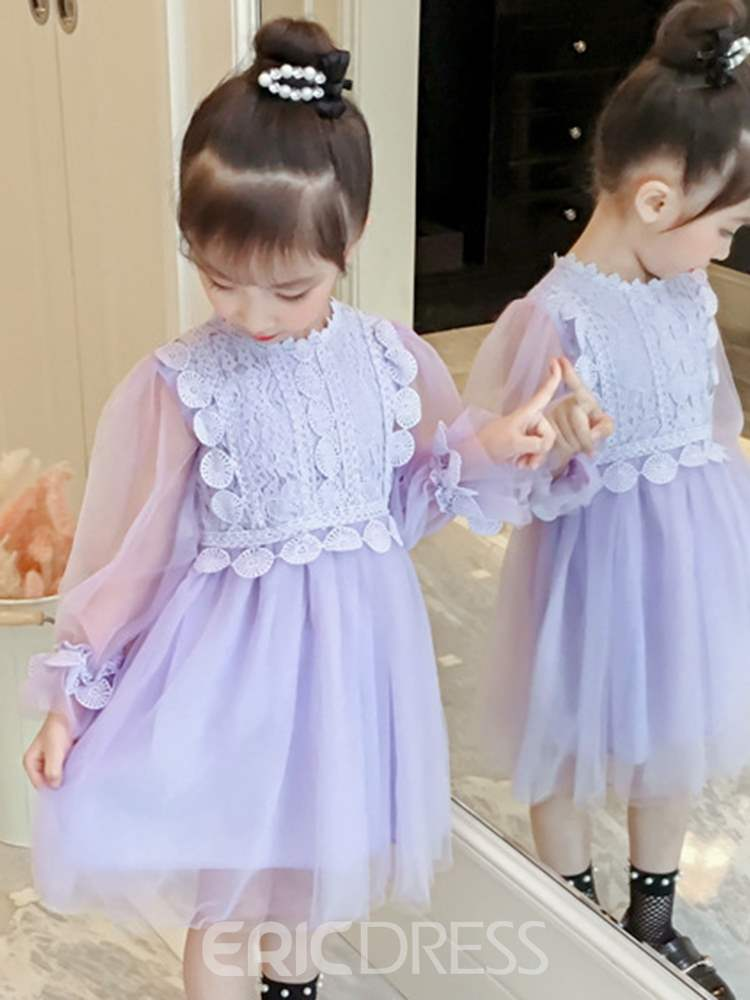 Ericdress Mesh Patchwork Lace Lantern Sleeve Girl's Princess Dress