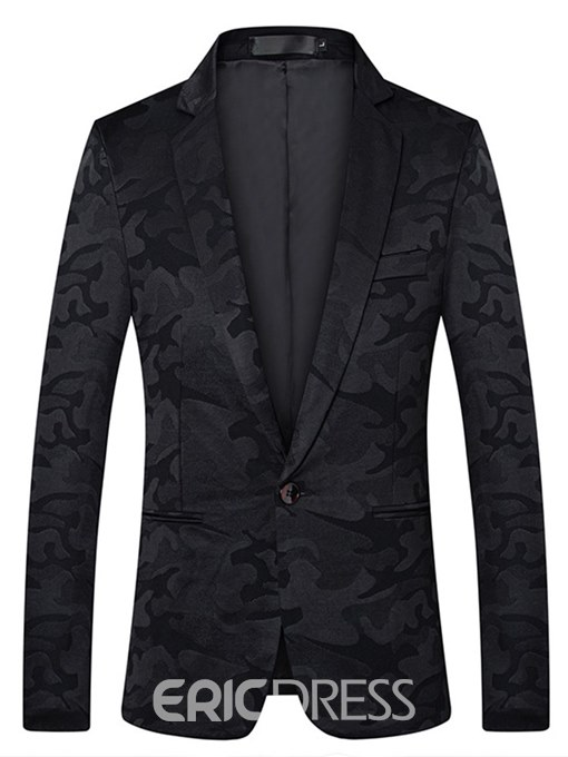 Ericdress Print Slim Notched Lapel Camouflage Mens Casual Ball Blazer