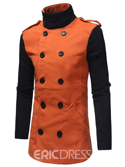 Ericdress Patchwork Double Breasted Slim Mens Casual Trench Coats