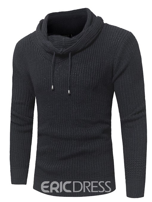 Ericdress Plain Heap Collar Lace Up Mens Casual Pullover Sweaters