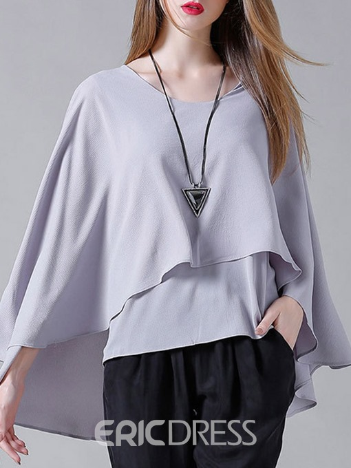 Ericdress Plain Pullover Fall Loose Layered Long Sleeve Blouse