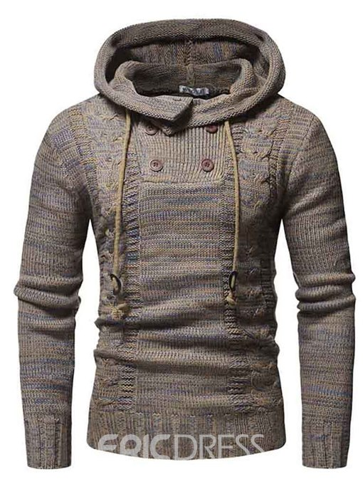 Ericdress Plain Hooded Lace Up Button Mens Casual Pullover Sweaters