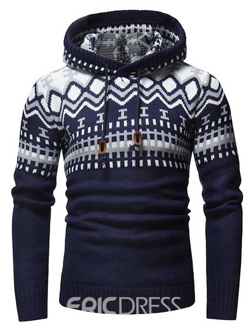Ericdress Patchwork Hooded Lace Up Mens Casual Pullover Sweaters