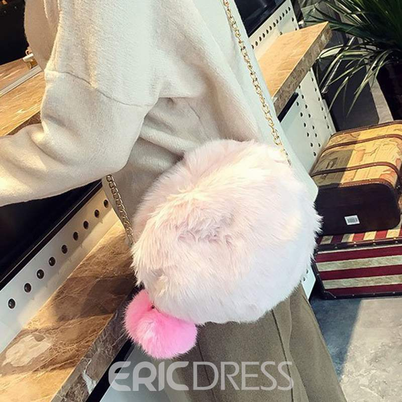 Ericdress Plain Faux Fur Soft Crossbody Bag
