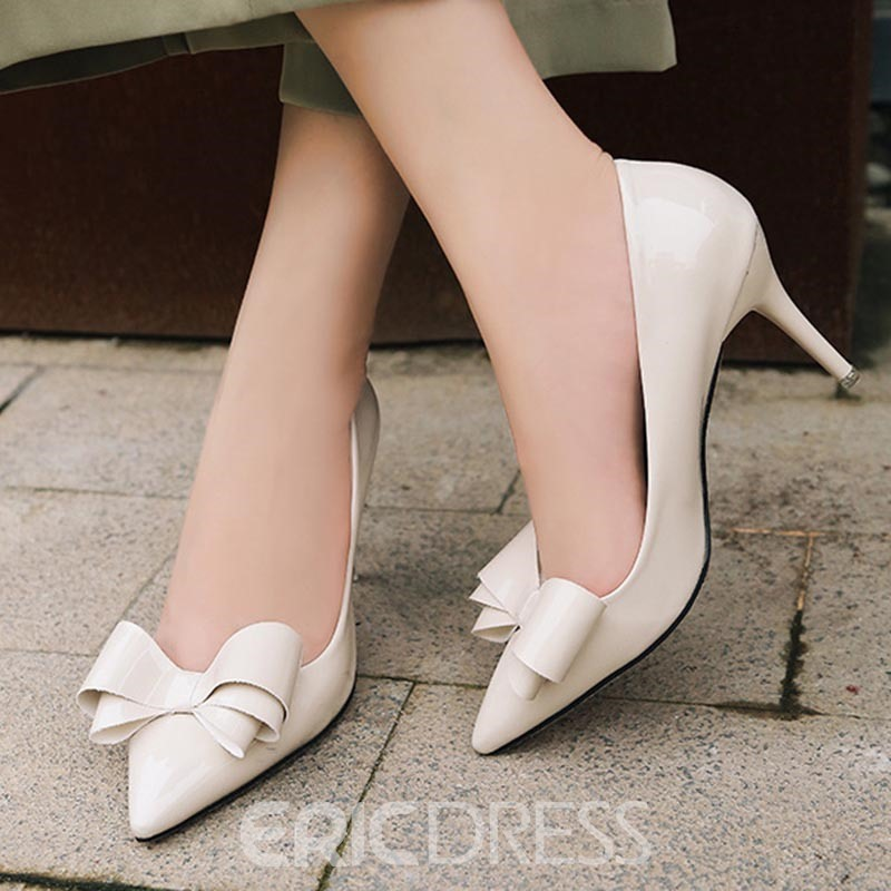 Ericdress Bow Pointed Toe Stiletto Heel Slip-On Women's Pumps