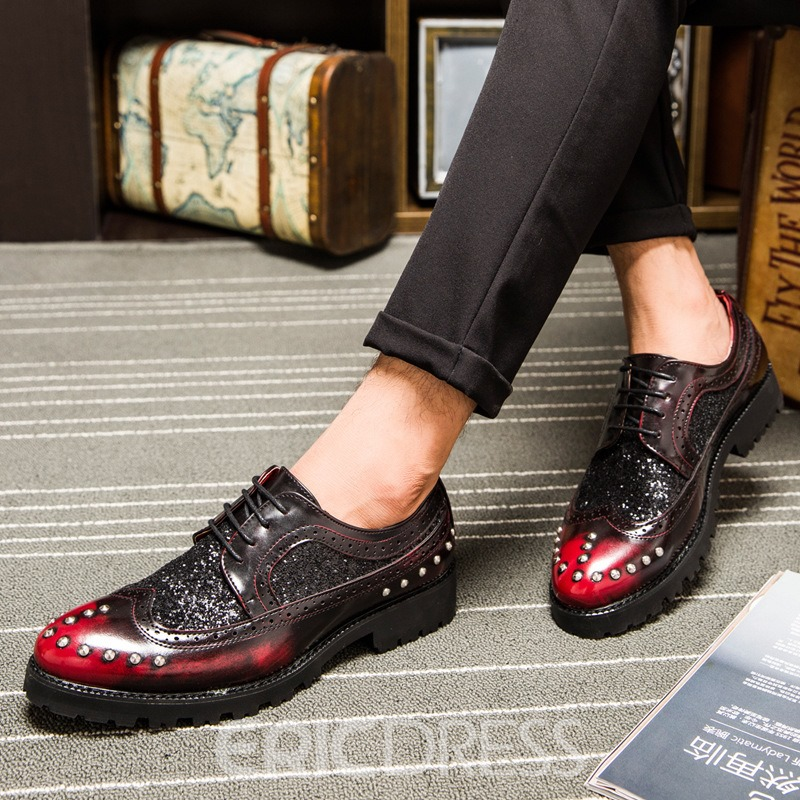 Ericdress Sequin Low-Cut Upper Lace-Up Men's Oxfords