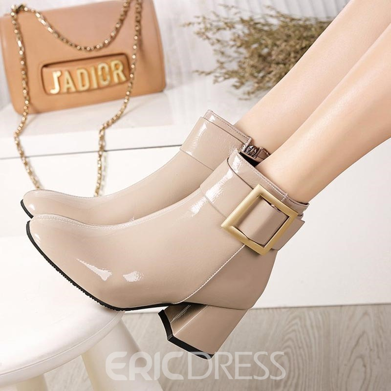 Ericdress Plain Chunky Heel Side Zipper Women's Boots