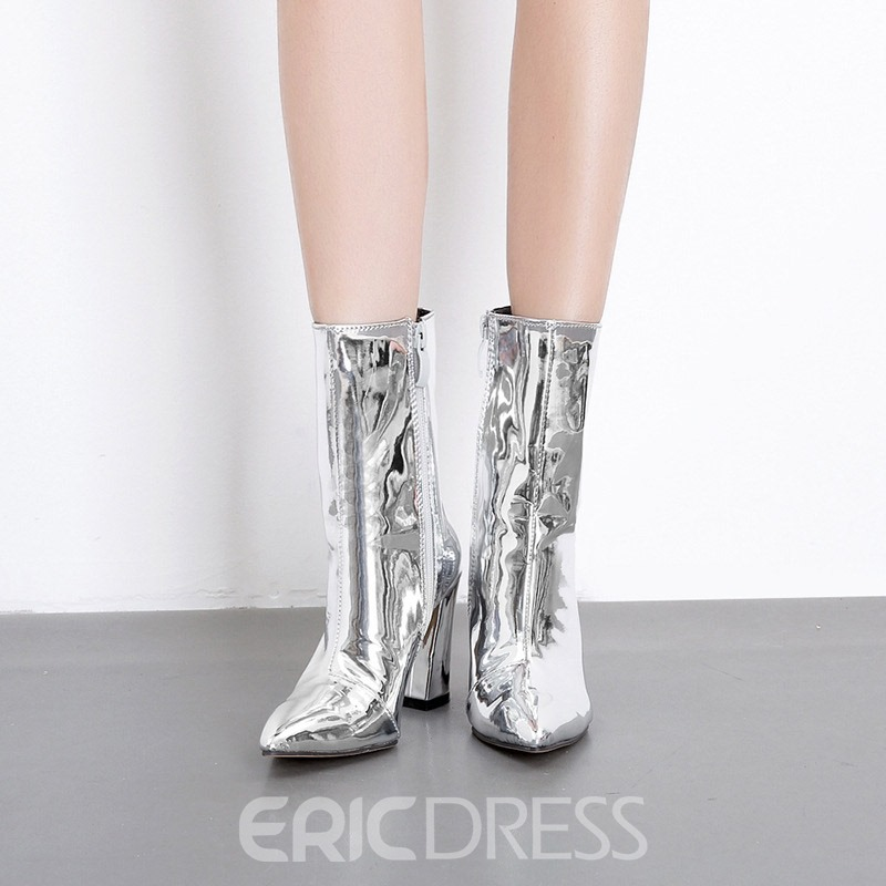 Ericdress Pointed Toe Chunky Heel Women's Metallic Boots