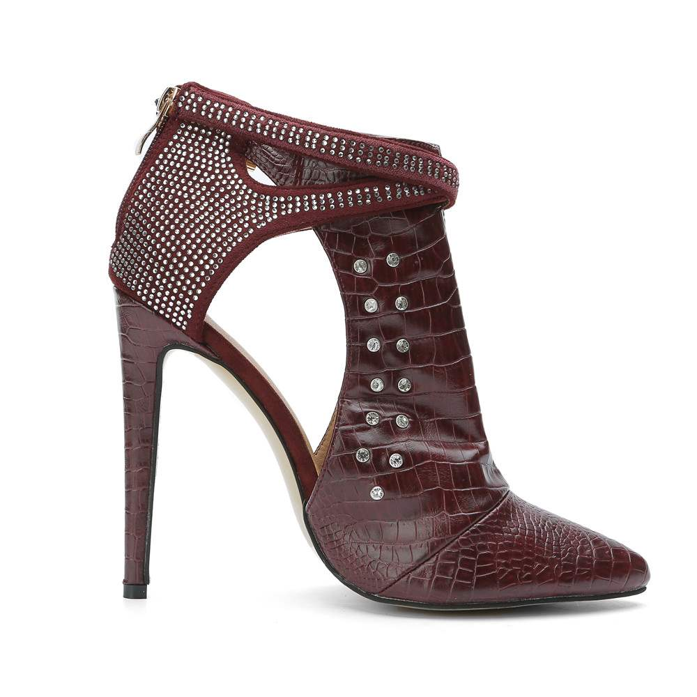Ericdress Red Rivets Buckle Point Toe High Heel Boots