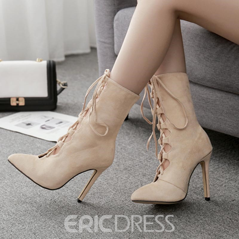 Ericdress Pointed Toe Lace-Up Front Stiletto Heel Ankle Boots