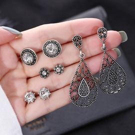 Ericdress Hollow Out Flowers 4 Pair Fashion Earrings