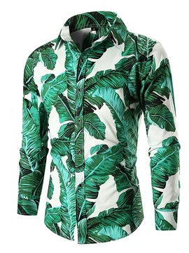 Ericdress Plant Printed Slim Lapel Mens Casual Shirts