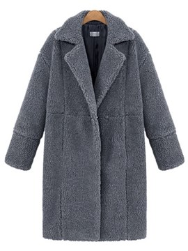 Ericdress Loose Lapel Plain Long Coat