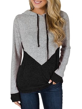 Ericdress Color Block Casual Hooded Long Sleeves Cool Hoodie