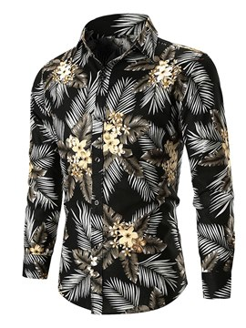Ericdress Plant Floral Print Slim Button Up Mens Casual Shirts