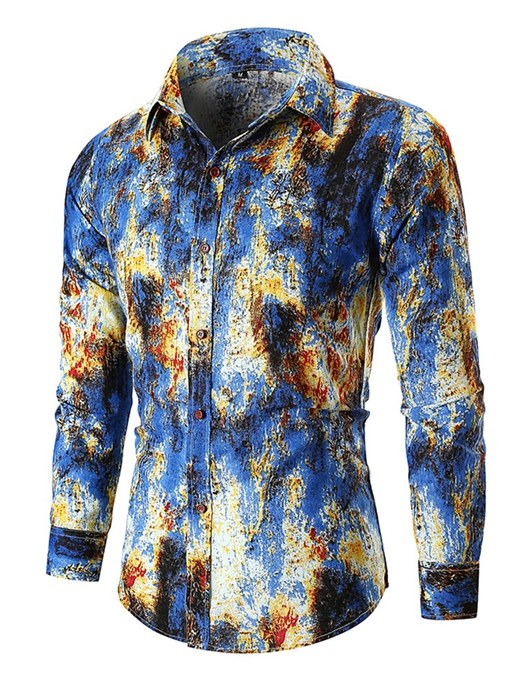 Ericdress Printed Slim Lapel Button Up Mens Casual Shirts