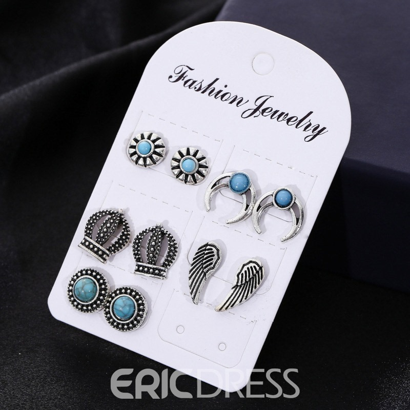 Ericdress 5 Pair Vintage Wings Fashion Earrings