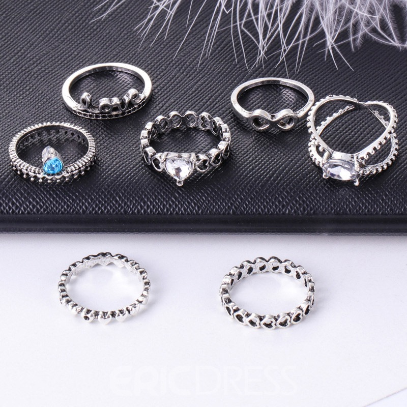 Ericdress Vintage Love Crown Ring Set
