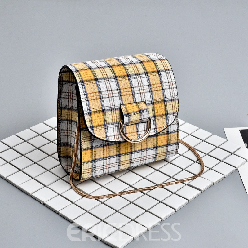 Ericdress Plaid Color Block Magnetic Snap Crossbody Bag