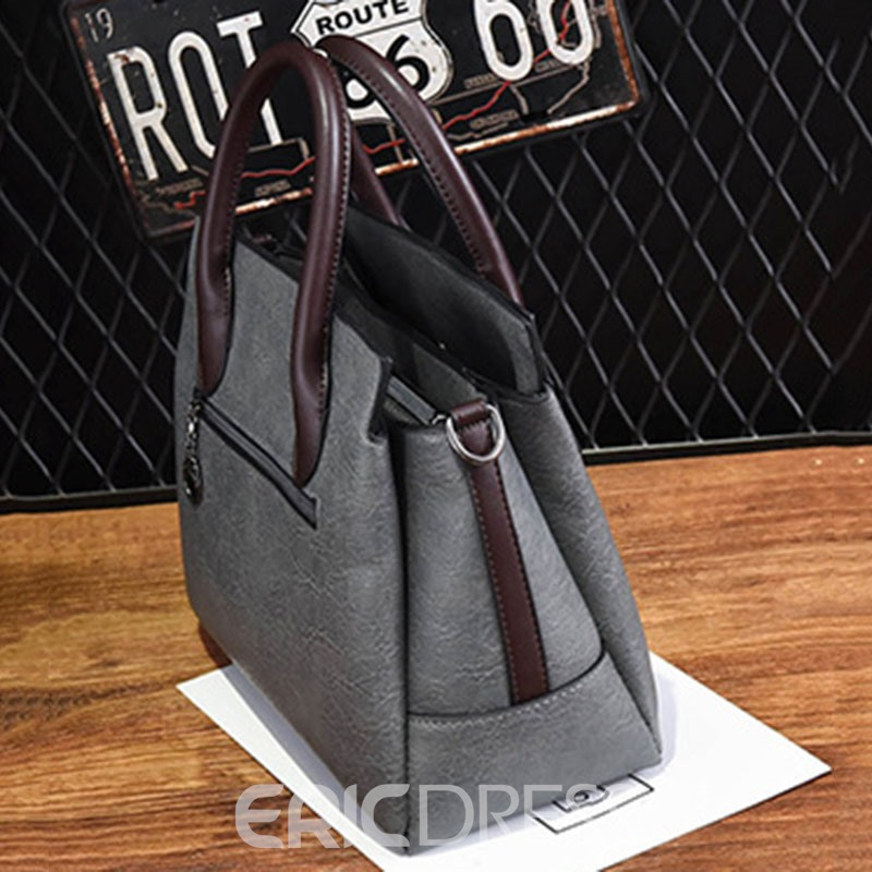 Ericdress Plain Tassel Embossing Zipper Handbag