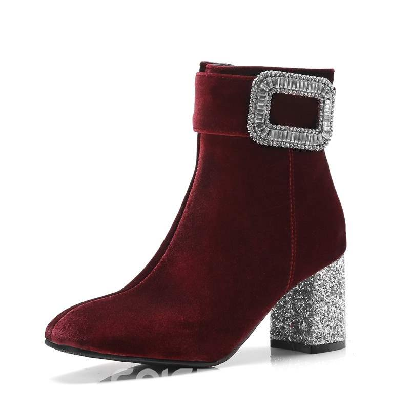 Ericdress Rhinestone Side Zipper Chunky Heel Women's Ankle Boots