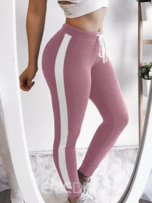 Ericdress Color Block Lace-Up Sports Leggings