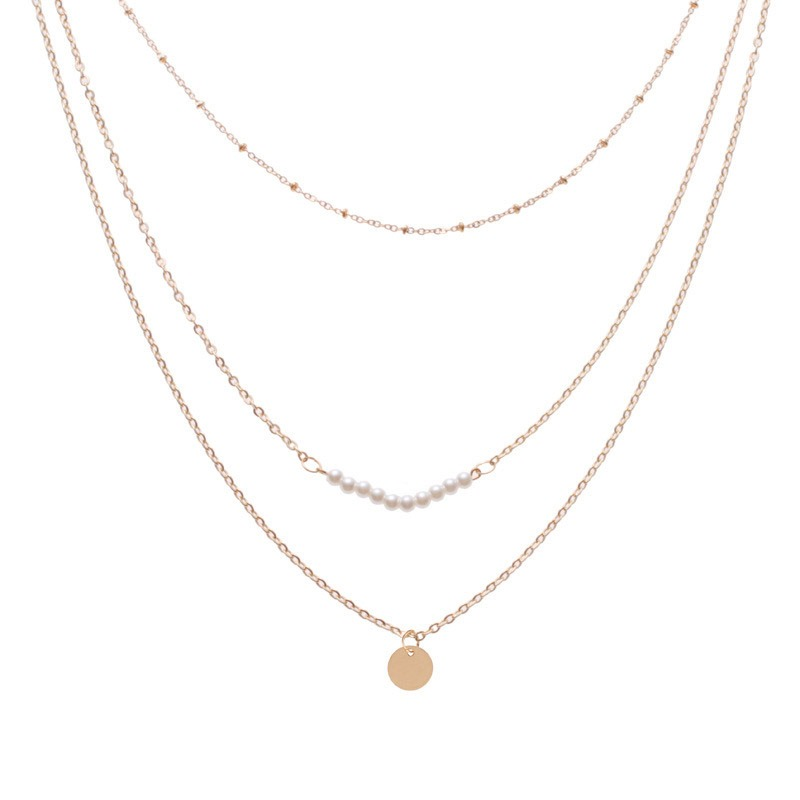 Ericdress Pearl Short Chain Paillette Charm Necklace