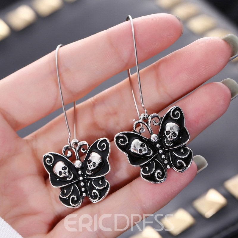 Ericdress Creative Skull Bow Vintage Earrings