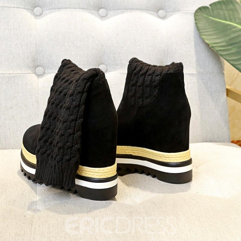Ericdress Patchwork Hidden Elevator Heel Women's Snow Boots