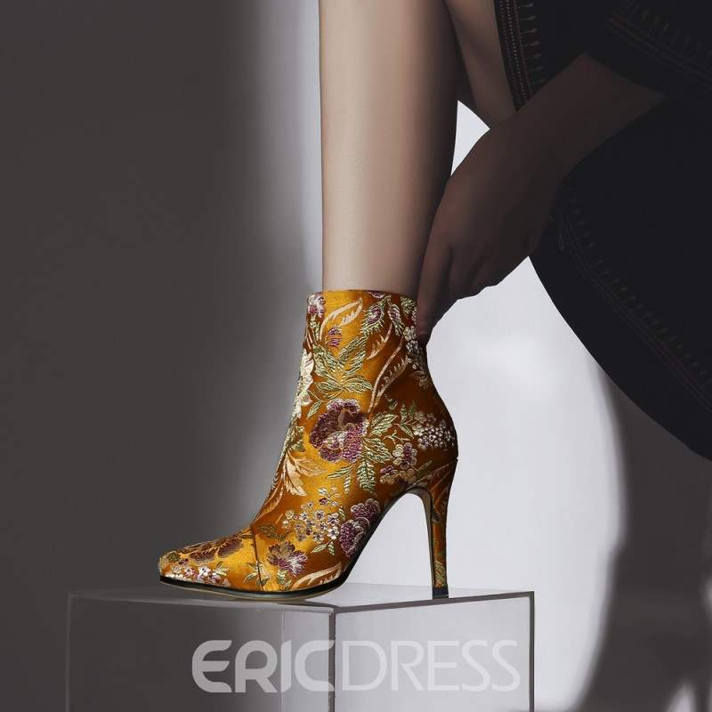 Ericdress Embroidery Pointed Toe Stiletto Heel Women's Ankle Boots