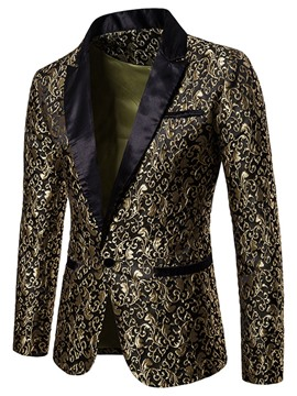 Ericdress Printed One Button Notched Lapel Mens Ball Blazer Costume