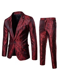 Купить со скидкой Ericdress Printed One Button Blazer & Pants Mens Casual Suits