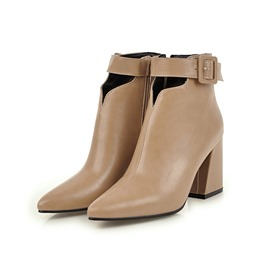 Ericdress Plain Pointed Toe Chunky Heel Ankle Boots