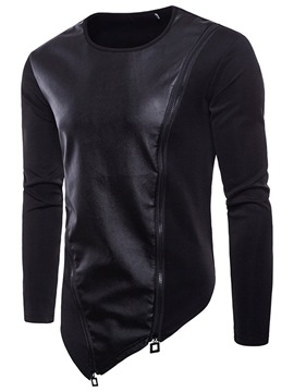 Ericdress Color Block Patchwork Zipper Slim Mens Casual Hoodies