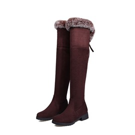 Ericdress Round Toe Block Heel Knee High Snow Boots