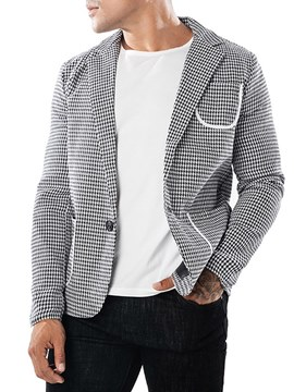 Ericdress Plaid Notched Lapel One Button Mens Casual Blazer