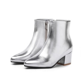 Ericdress Side Zipper Chunky Heel Metallic Boots