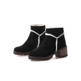Ericdress Plain Back Zip Chunky Heel Women's Snow Boots