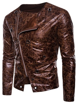 Ericdress Print Zipper Collarless Mens PU Leather Casual Jacket