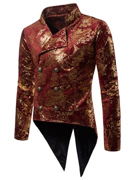 Ericdress Printed Double Breasted Swallowtail Mens Blazer Costume