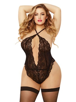 Ericdress Backless Halter See-Through Plus Size Teddy