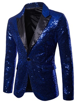 Ericdress Plain Sequins Notched Lapel One Button Mens Ball Blazer Costume